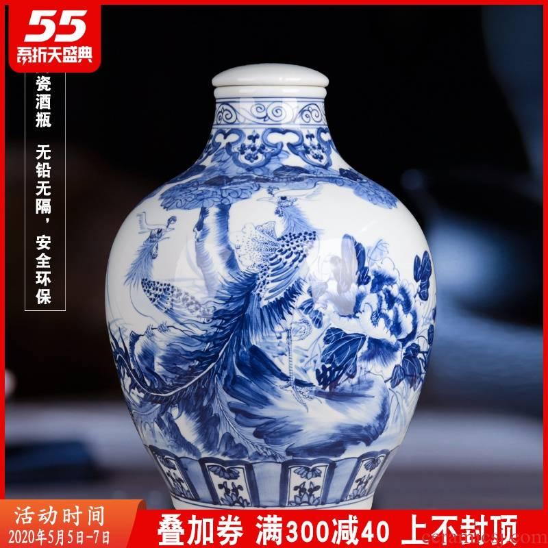 Blue and white porcelain of jingdezhen ceramics collection manual medicine bottle wine bottle mercifully 30 kg jar hand - made of phoenix