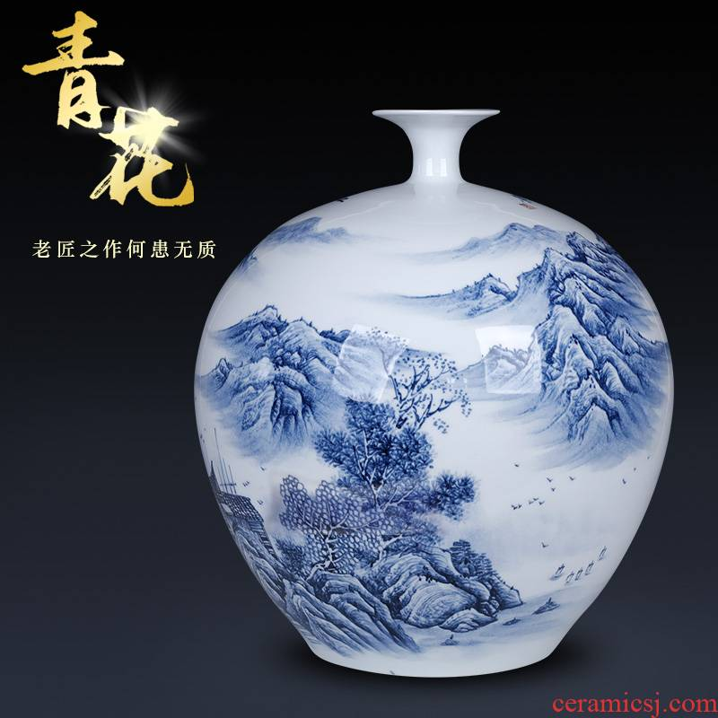 The Master of jingdezhen hand - made large blue and white porcelain vase is placed large living room TV ark, flower arranging home decoration furnishing articles