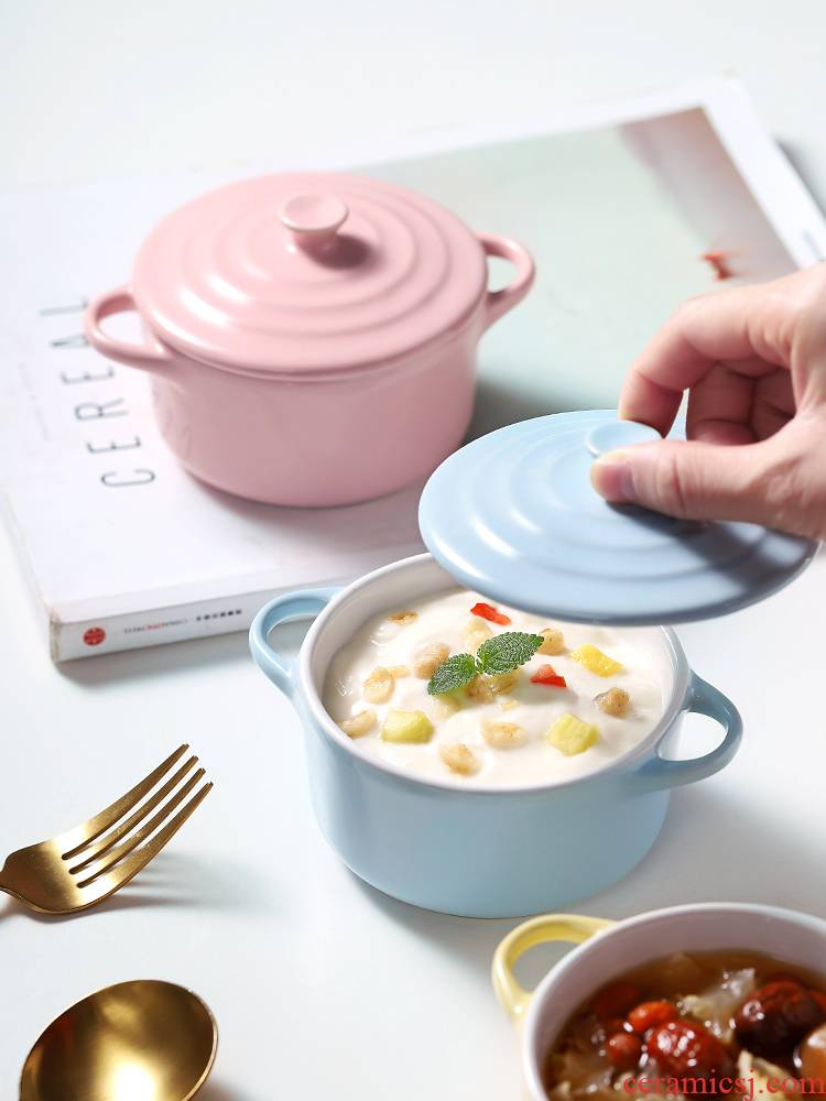 Ceramics with cover steamed chicken custard ears high - temperature baby see water steamed egg bowl home baby steamed egg dessert bowl