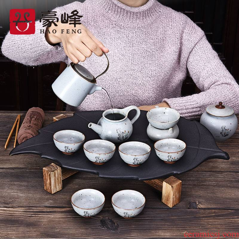 HaoFeng purple sand tea set of household solid wood tea tray tea sets tea sea kung fu tea set of a complete set of ceramic tea cups