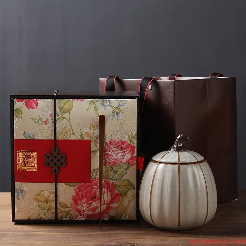 Longjing tea packaging cartons is your elder brother up with storage tank receive ceramic pot of green tea pu 'er tea pot gift boxes