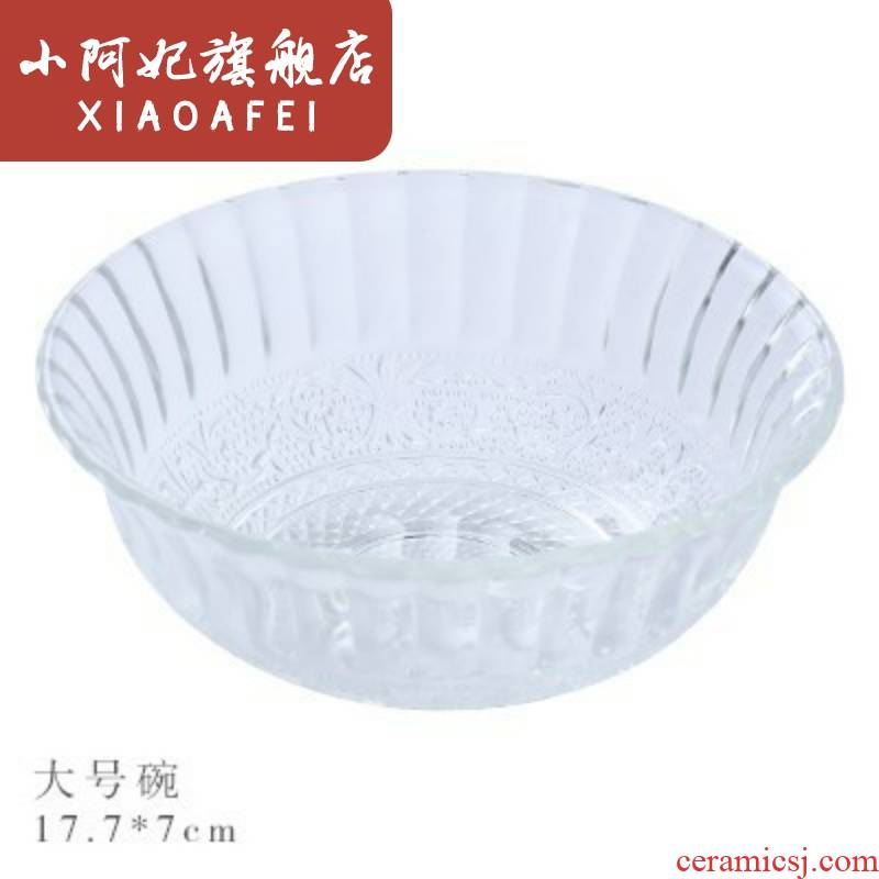 Glass salad bowl dessert soup bowl dish household transparent rice suit creative small bowl bowl dishes dishes