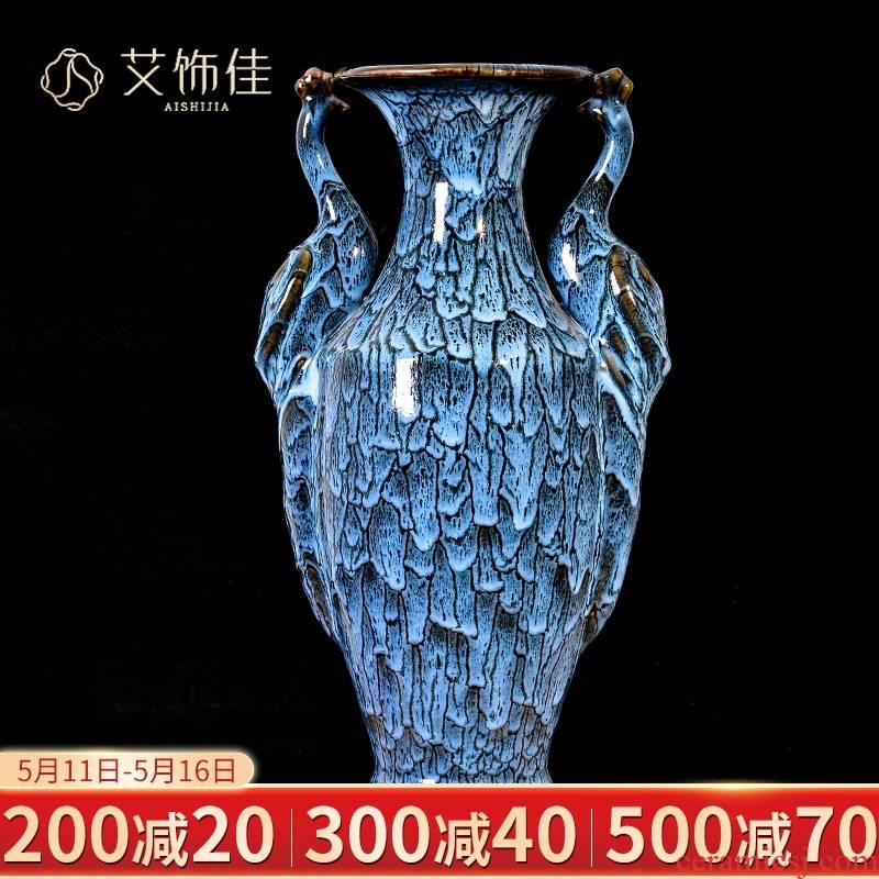 Jingdezhen ceramics up blue flower arranging the sitting room TV ark place Chinese vase, the sitting room porch decoration
