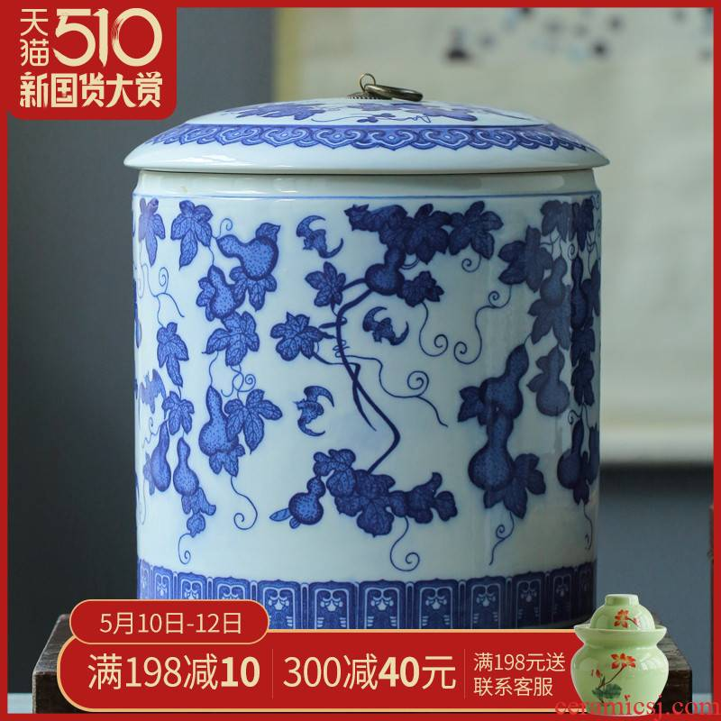 Barrel ricer box home furnishing articles large blue and white porcelain is jingdezhen ceramics caddy fixings' s seven cake store POTS