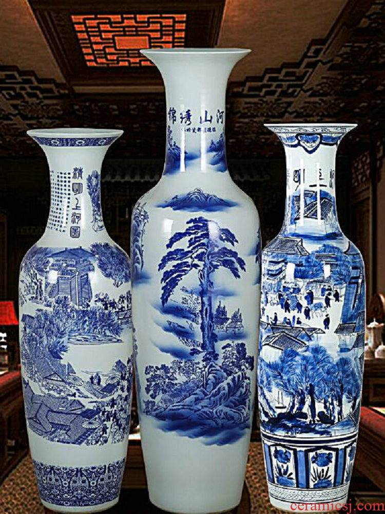 Jingdezhen ceramics large ground blue and white porcelain vase landscape figure sitting room adornment of Chinese style hotel furnishing articles flower arrangement