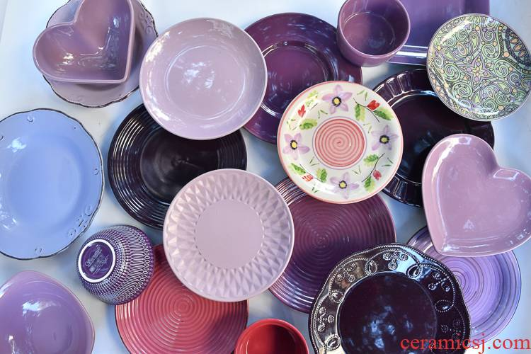 Purple color plate tableware ceramics porridge bowl of soup bowl dish dish plates household Nordic dinner plate, defective
