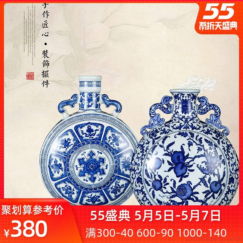 Jingdezhen ceramics vase hand - made archaize ears flat bottles of blue and white porcelain rich ancient frame furnishing articles sitting room peach branches