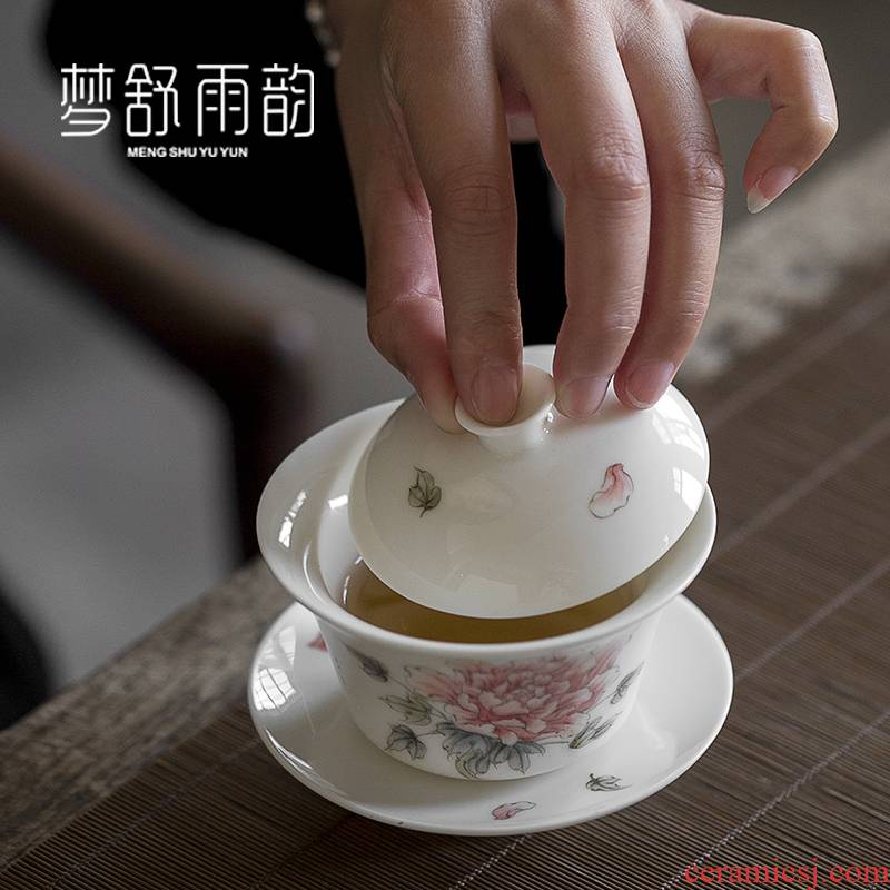 Dream ShuYu rhyme white porcelain hand - made only three tureen tea cups a single ceramic bowl with restoring ancient ways is kung fu tea tea bowl