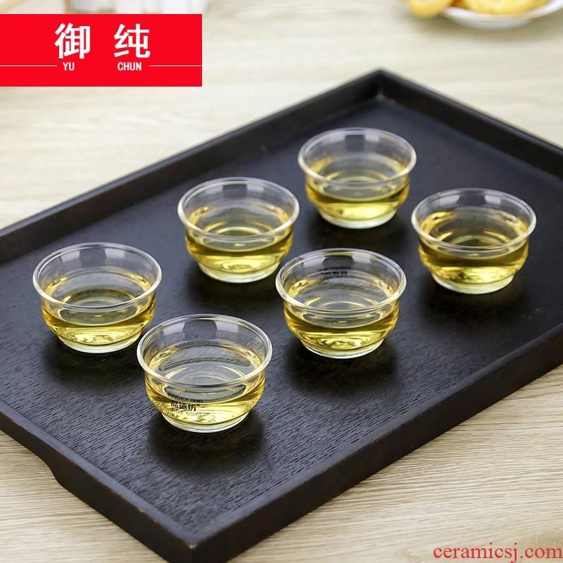 Royal pure glass cup suit high borosilicate glass kung fu tea set suit sample tea cup home 6 set