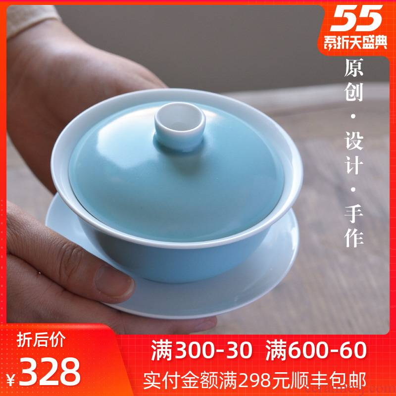 Bright product tureen large single three to jingdezhen kung fu tea tea bowl checking household ceramics making tea