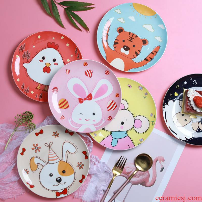 Jingdezhen ceramic express cartoon creative animal rabbit fruit snacks snacks ipads porcelain plates steak plate