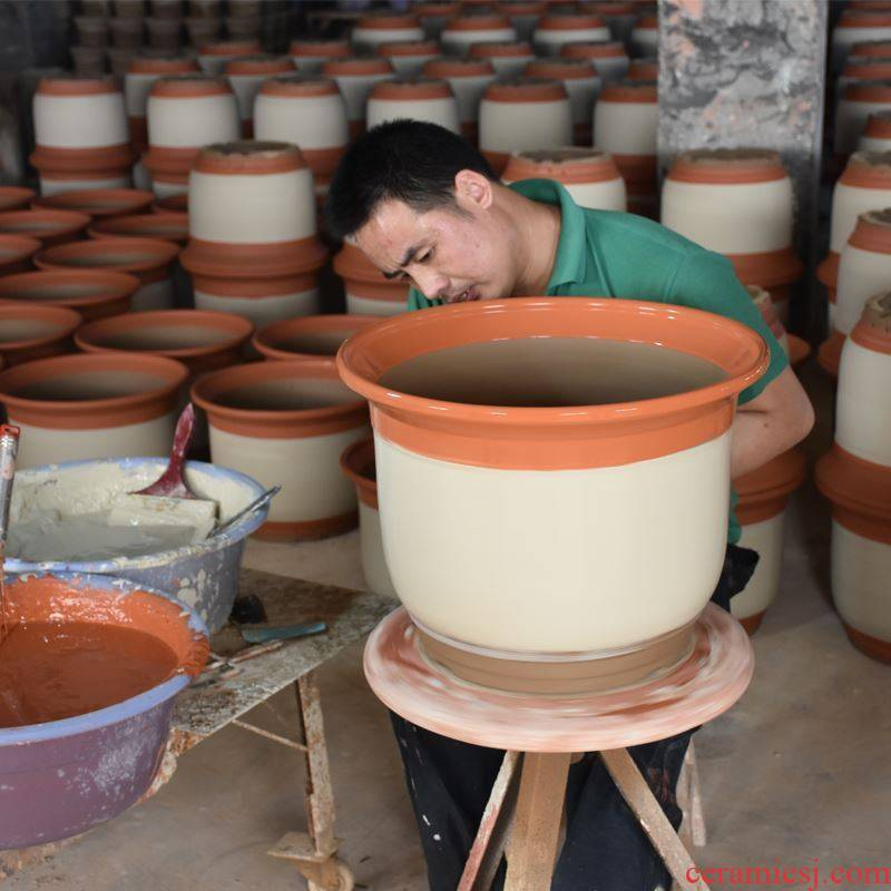 Circular rose more durable heavy meat thick pot large household is suing garden flowerpot of large diameter thick ceramics