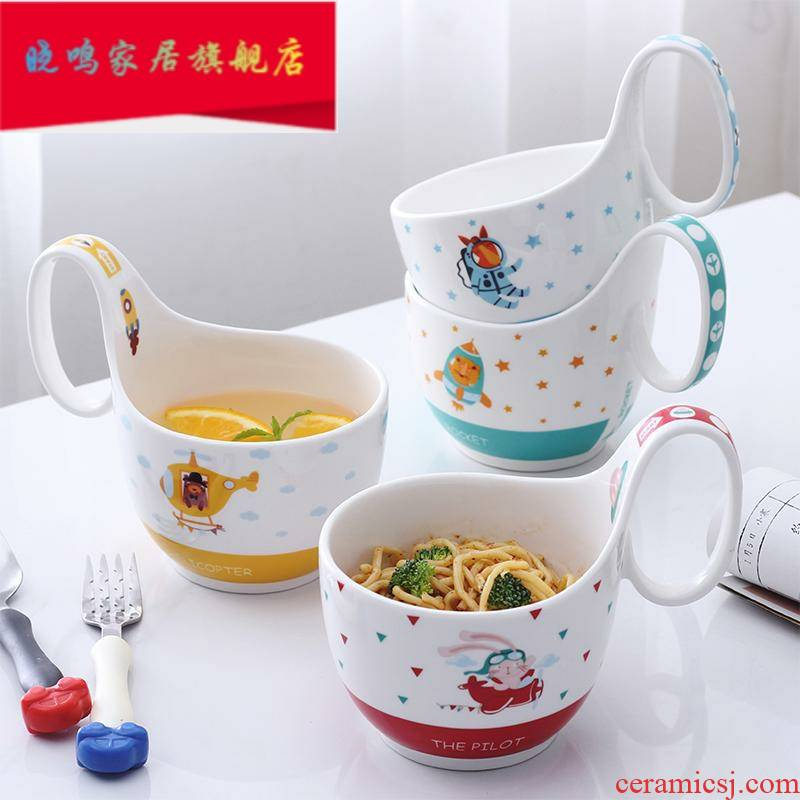 The Children 's cartoon ceramic bowl soup cup bowl big boy students creative breakfast cup baby bowl bowl with the handle