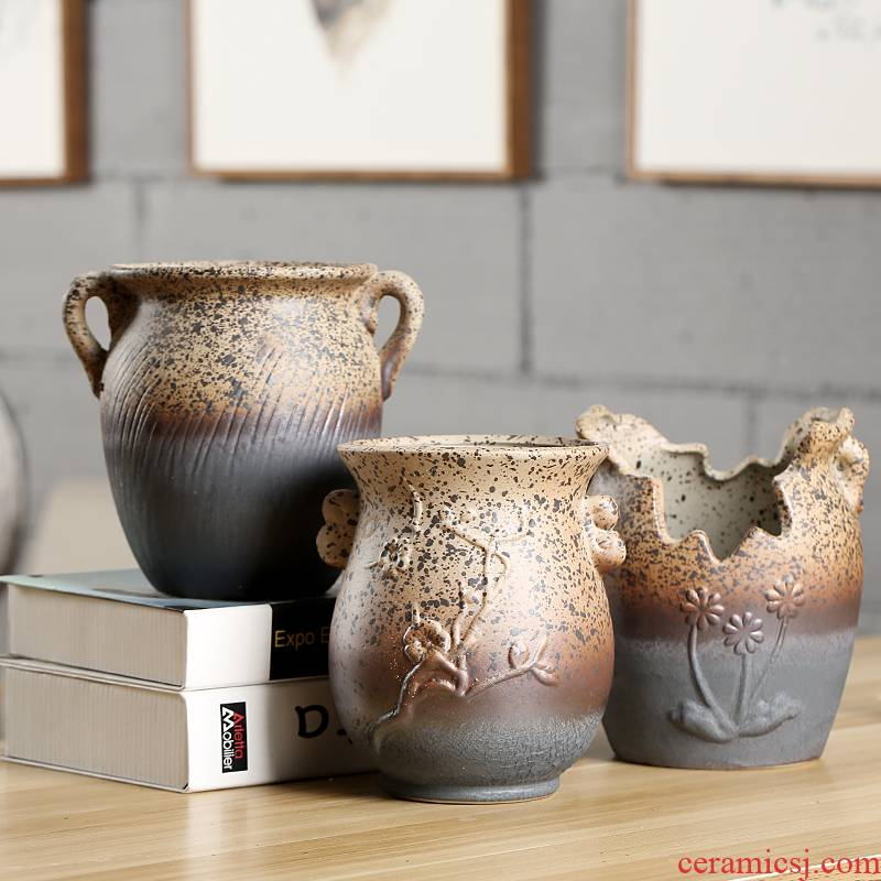 End much meat basin mage, zhuang zi coarse pottery breathable big jar creative ceramic large flower pot basin restoring ancient ways