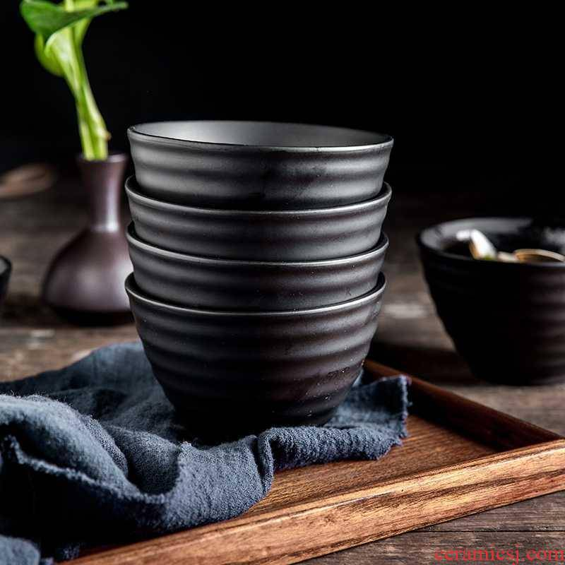 Rice bowls five Japanese household eating utensils contracted small pure and fresh and single ceramic bowl Korean your job