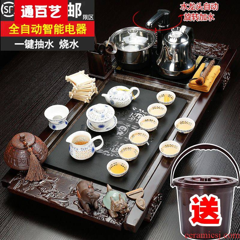 Tong baiyi tea set solid wood sharply stone tea tray ceramic kung fu tea set of a complete set of automatic household