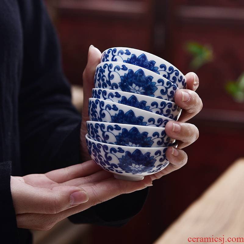 Ancient youligong tangled branches of rooster lotus 6 suit bucket color blue and white chenghua 280 small daming household porcelain cups