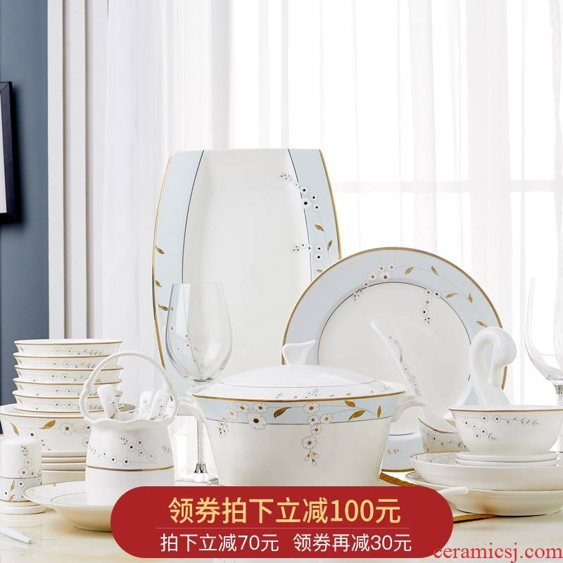 Orange leaf ipads porcelain tableware dishes suit Chinese style household European - style jingdezhen ceramics dishes combine blue mood
