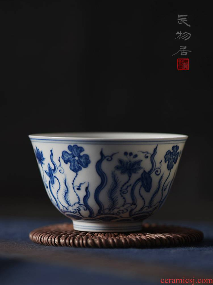 Offered home - cooked in imitation of chenghua hand - made green Hualien pool sample tea cup of jingdezhen ceramic tea cup, master cup by hand