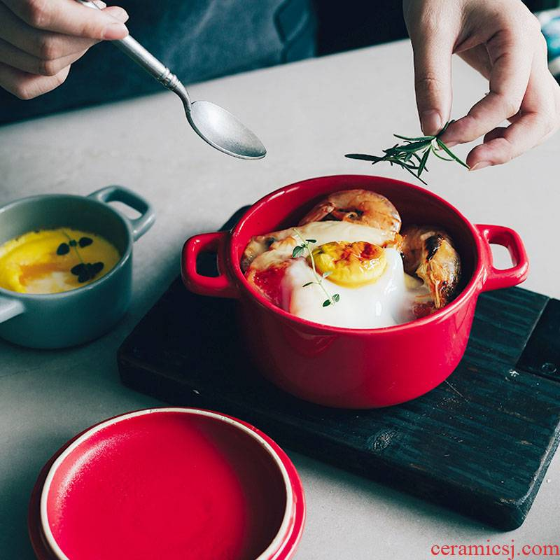 Northern wind INS ceramic water stew ears with cover cup steamed egg cup stewed bird 's nest soup kitchen household dish bowl of stew