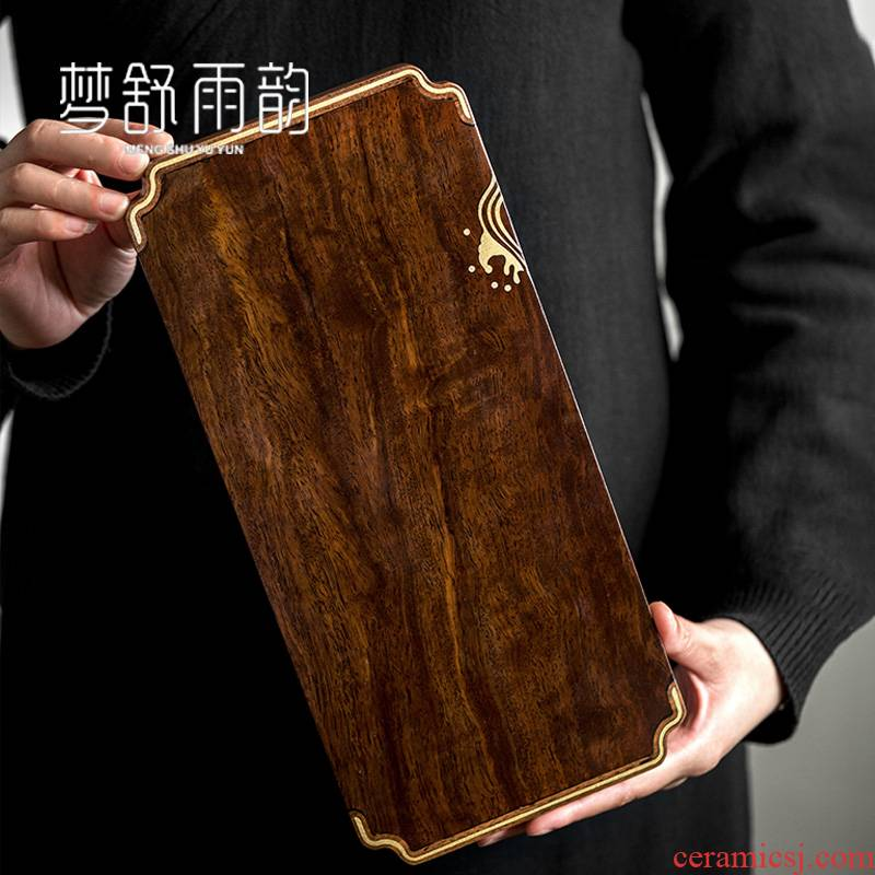 Simple dream ShuYu rhyme ebony tea tray tea pot of bearing dry mercifully small I and contracted for solid wood home tray
