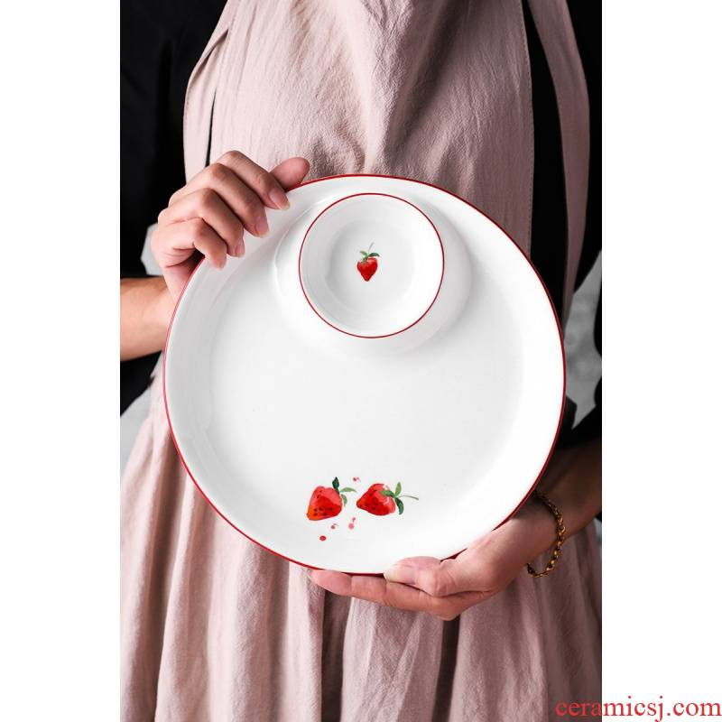 Creative Nordic dumplings dribbling vinegar disc ceramic dumpling dish condiment home cold shrimp dish, 615