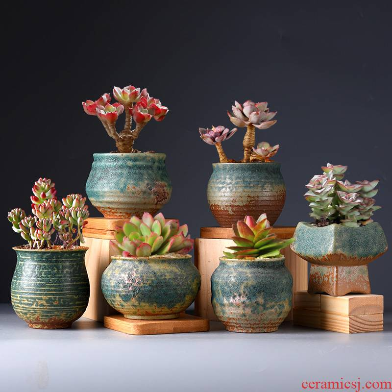 Fleshy flowerpot ceramic contracted retro indoor large caliber meat meat coarse pottery breathable, the plants of small and medium clay POTS
