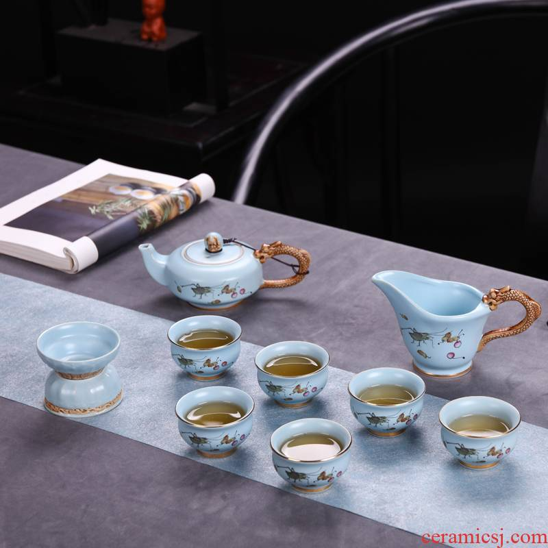 Kung fu tea set jingdezhen ceramic home portable travel office high - grade up phnom penh your up of a complete set of tea service