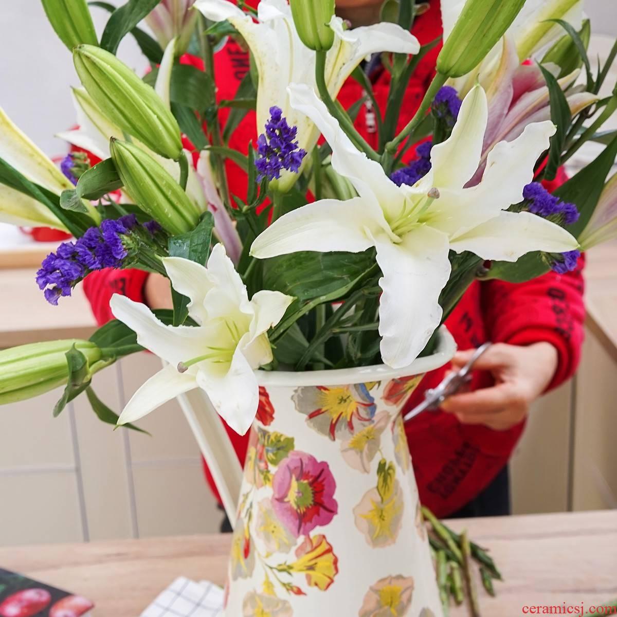 Japan fatty dragon flowers with thick enamel 3.5 L household enamel export large vase bottle decoration