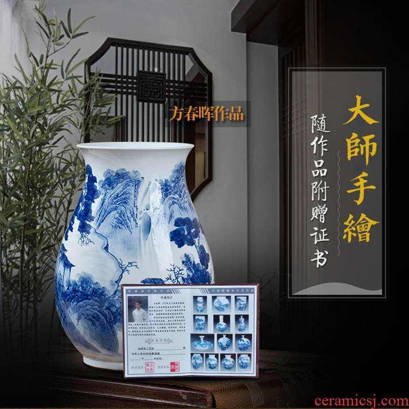Jingdezhen ceramics hand - made scenery blue and white porcelain vase big expressions using tube furnishing articles sitting room of Chinese style household ornaments