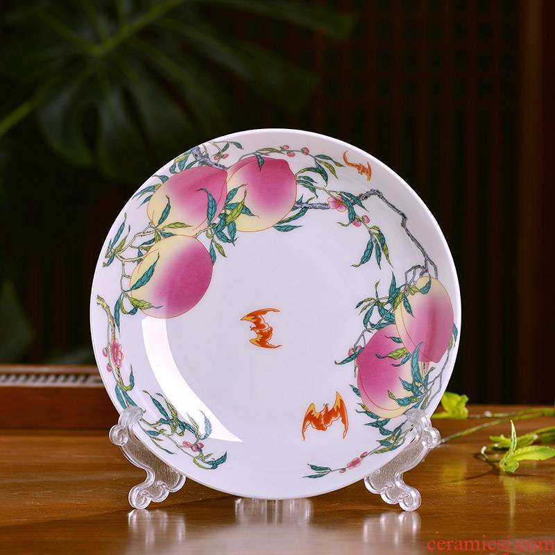 Jingdezhen ceramics nine peach peach plate of Chinese style household ipads porcelain dish dish dish large flat plate antique plate