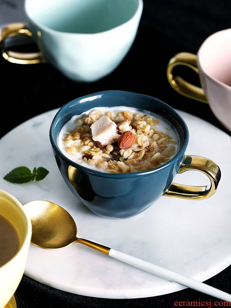 Ceramic water glass ins Nordic female move European creative trend oats cereal breakfast keller of coffee