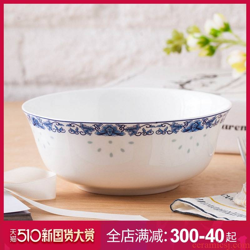Jingdezhen ceramics ipads porcelain bowl set 6 inch rainbow such as bowl of rice bowl soup bowl glair of blue and white porcelain tableware