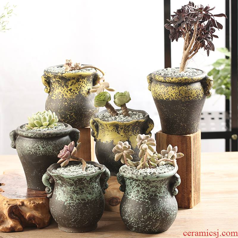 End little flowerpot breathable large zhuang zi, fleshy individuality creative interior of large diameter coarse pottery special offer a clearance package mail