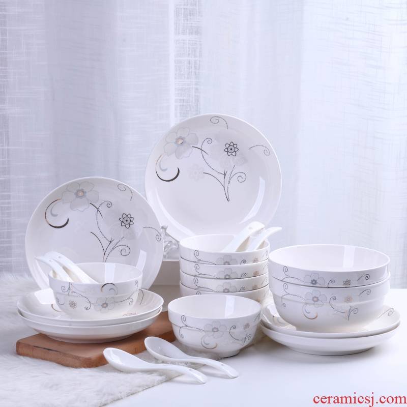 Jingdezhen ceramic bowl combination suit ipads bowls disc 20 head tableware household contracted microwave dish bowl