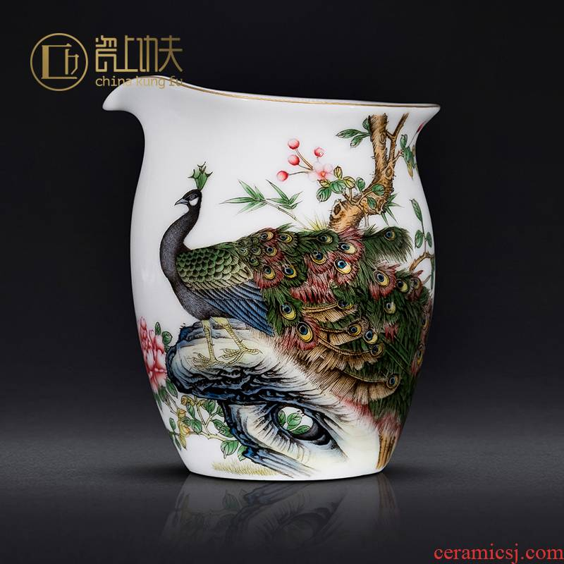 Jingdezhen kung fu tea accessories hand - made peacock enamel points fair keller of tea ware ceramic cup