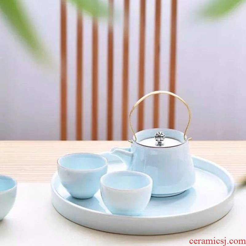 Pure color single master kung fu tea set celadon teacup girder pot cup personal cup sample tea cup dry terms plate ceramic package