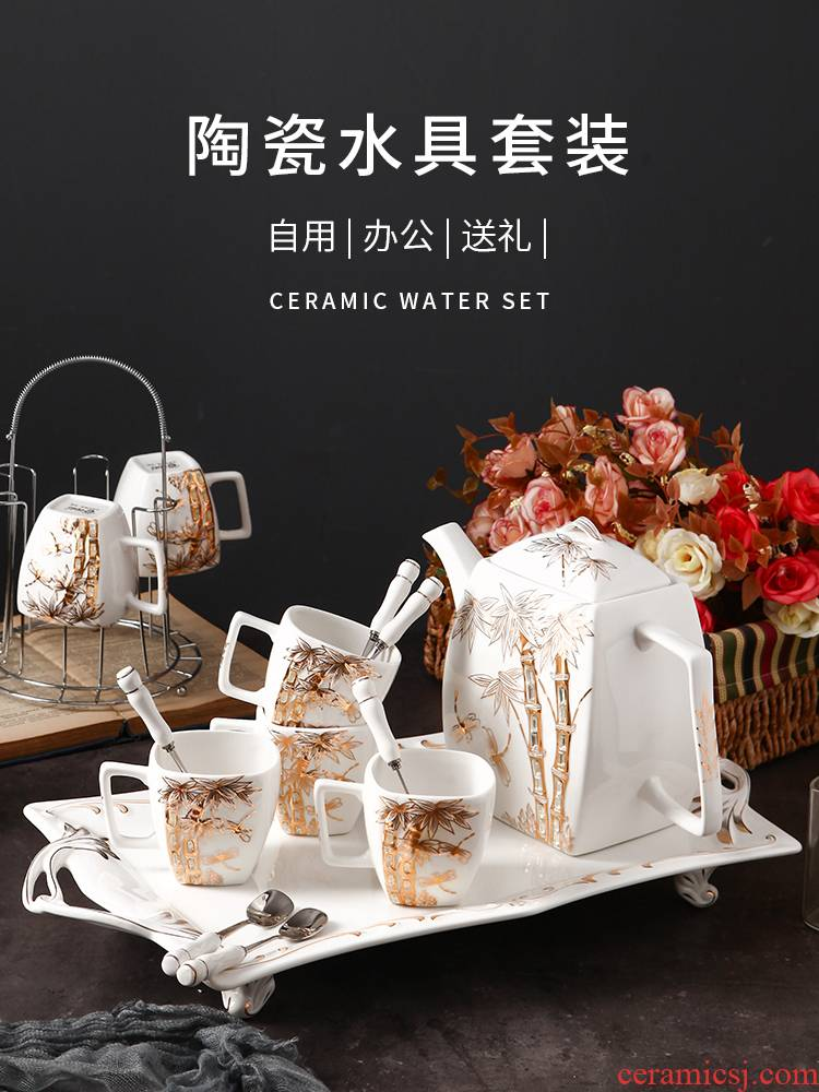 Sitting room glass tea set coffee cup home European ceramic water with either the teapot cup of a complete set of tea cups