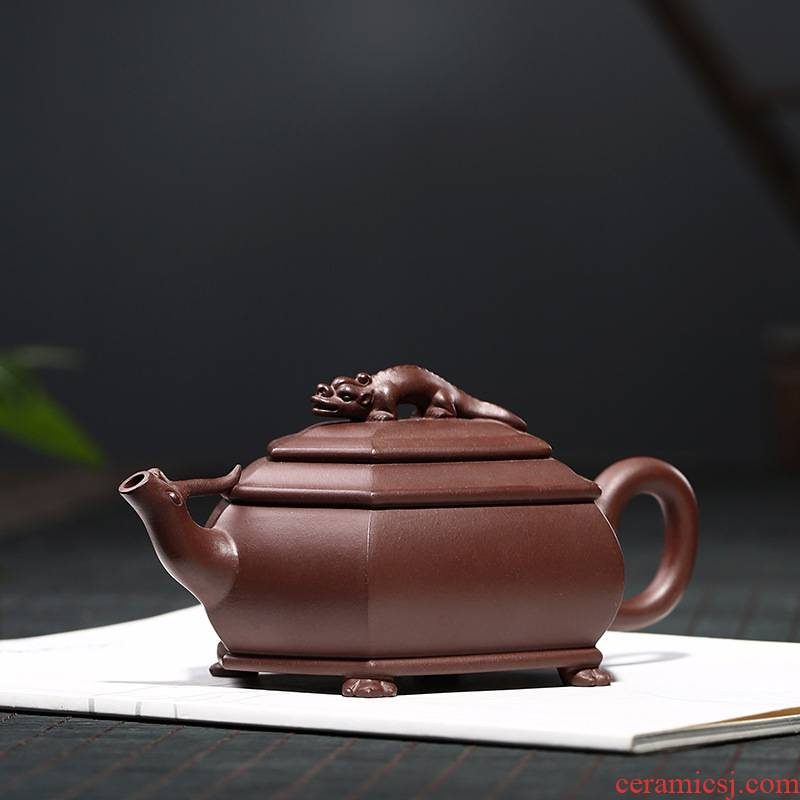 Yixing masters are it pure manual undressed ore old purple clay teapot kung fu tea set household teapot longnu six - party