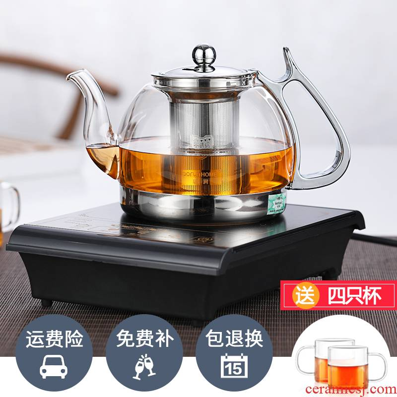 Glass teapot filtering thickening heat boiling water tea stove the boiled tea, the electric TaoLu induction cooker special teapot suit