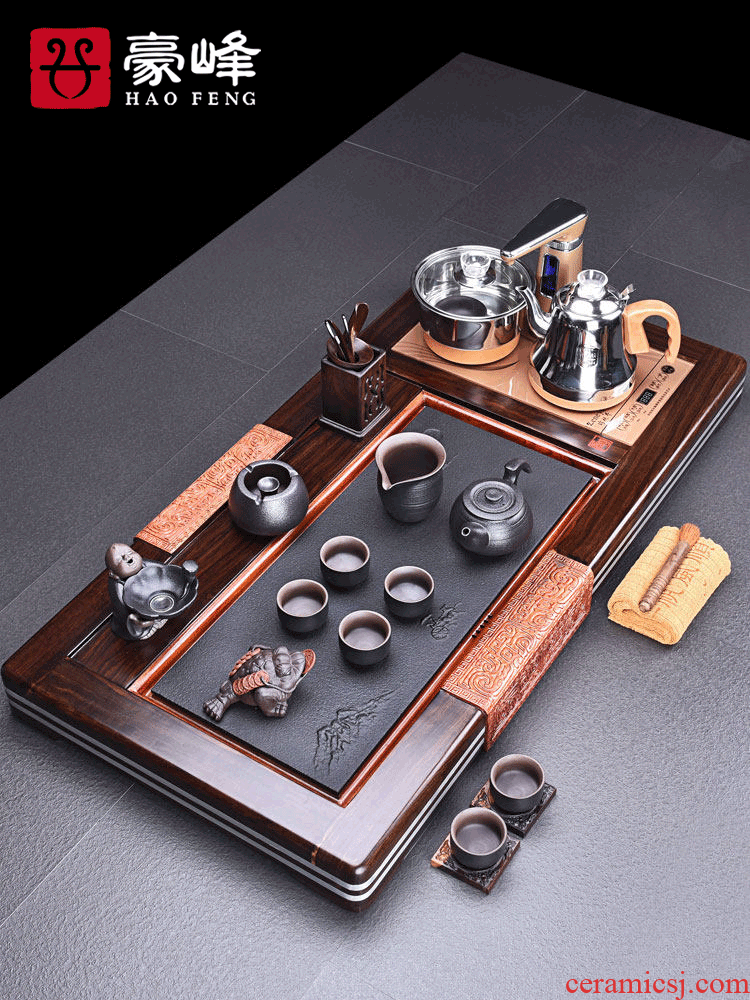 HaoFeng purple sand tea set home four unity automatically ebony tea tray was kung fu tea tea tea