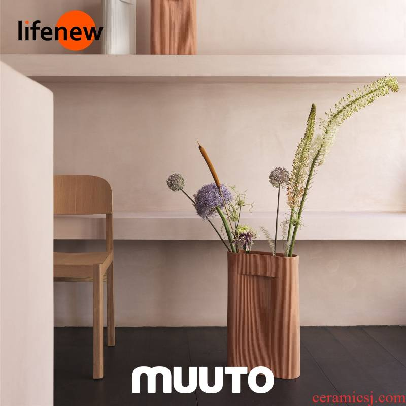 [spot] MUUTO RIDGE terra - cotta appeared & amp; White pottery pure color flat expressions using contracted vase (Denmark)