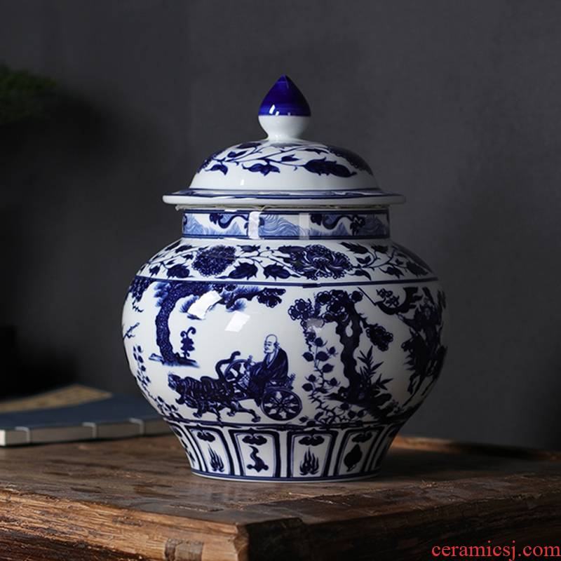 Blue and white porcelain tea pot large ceramic tea cylinder storage POTS storage pot Chinese style furnishing articles 1 catty black tea