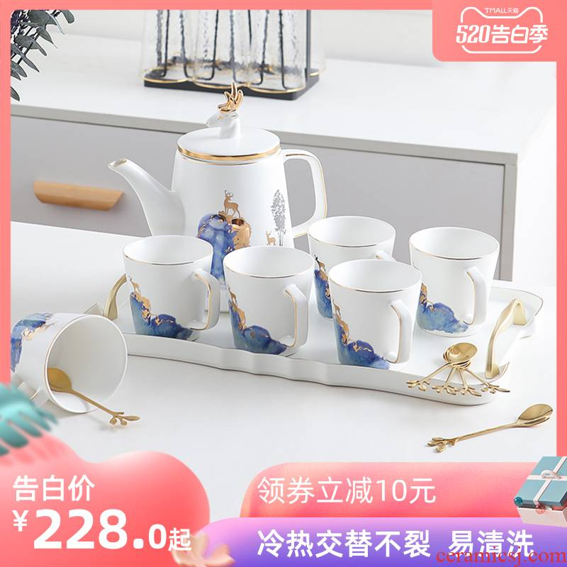 Tea set household Nordic ceramic teapot teacup drinking cup contracted sitting room light key-2 luxury water cup with a complete set