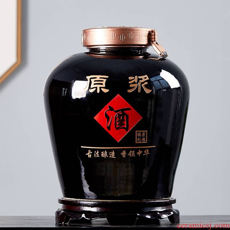 Jingdezhen ceramic jars earthenware household 30 jins 20 jins 10 jins hoard it sealed mercifully wine liquor jar