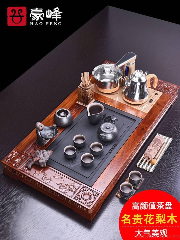 HaoFeng hua limu sharply stone tea tray was kung fu tea set of a complete set of purple sand pottery and porcelain tea sets tea home