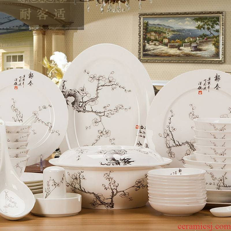 Guest comfortable jingdezhen ceramic tableware suit Chinese wind resistant ipads bowls plates spoon set daily custom
