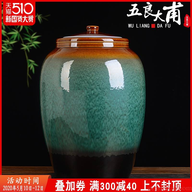 Jingdezhen ceramic barrel 50 pounds to ricer box household rice storage box with cover seal insect - resistant moistureproof ceramic storage tank