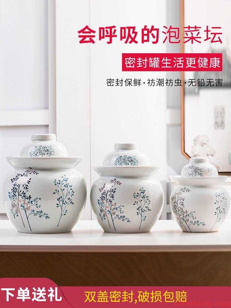 The Pickle jar jingdezhen ceramic household small Pickle earthenware storage sealed Pickle jar of pickles jar jar