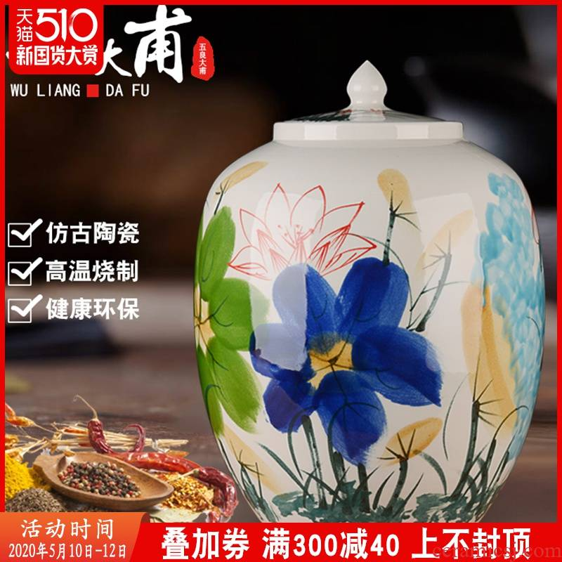 Jingdezhen ceramic barrel ricer box meter box storage 50 kg 30 jins with cover seal storage tank household insect - resistant moistureproof cylinder